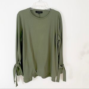Eloquii Worn 1X Olive Green Tie Sleeve Knit Top 16
